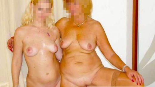 Zwei nackige Frauen mit schmutziger Fantasie